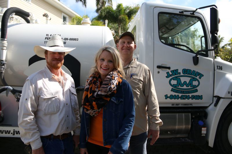 JW Craft Portable Restrooms owners, from left, John Nebus, Jennifer Corrigan and Jerry Craft