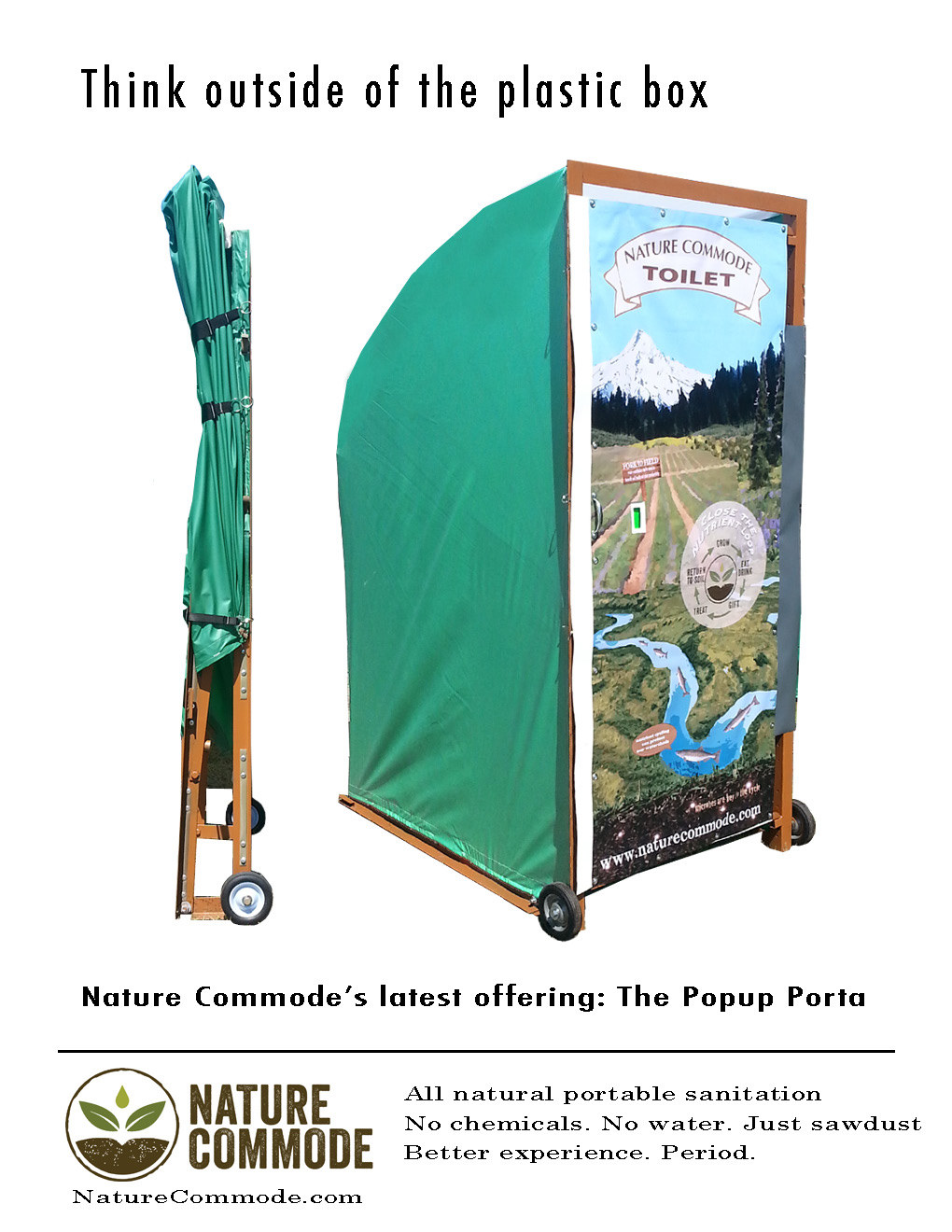 Nature Commode's Popup Porta folds flat and relies on sawdust, not chemicals, to prevent odors.