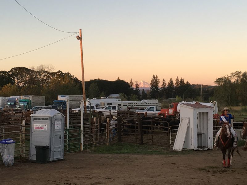 A Clinkscales Portable Toilets unit on the Molalla (Oregon) Buckeroo Rodeo grounds. (Photo by Susan Seubert)