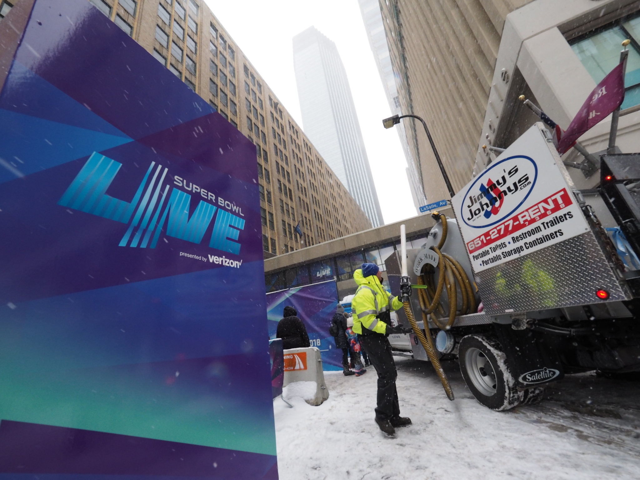 Jimmy's Johnnys provided some 300 portable restrooms to Super Bowl LIVE attendees for 10 days in Minneapolis. The company also tendered executive restroom trailers, attendants, water tanks and other equipment. –Photos by Brad Stauffer