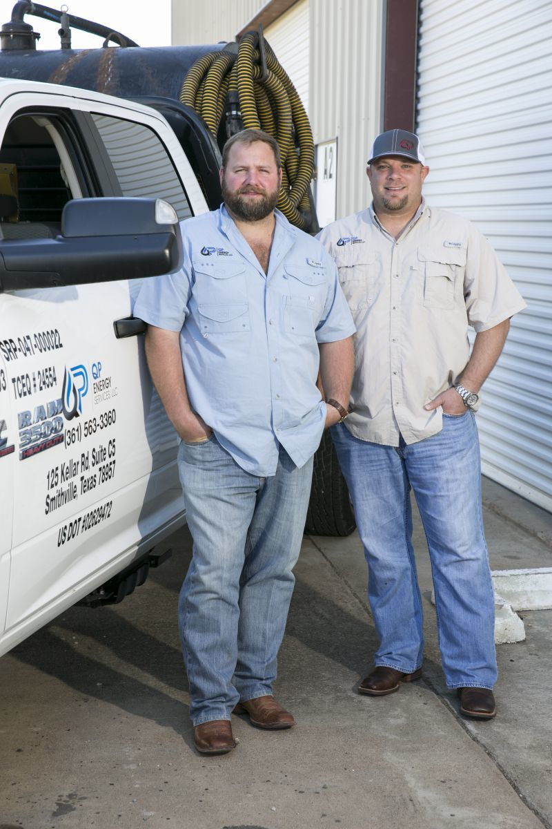 J.R. Pickens, right, and Cy Quackenbush, left, of QP Energy Services